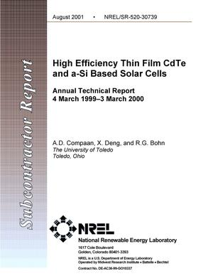 Primary view of object titled 'High Efficiency Thin Film CdTe and a-Si Based Solar Cells: Annual Technical Report, 4 March 1999 - 3 March 2000'.