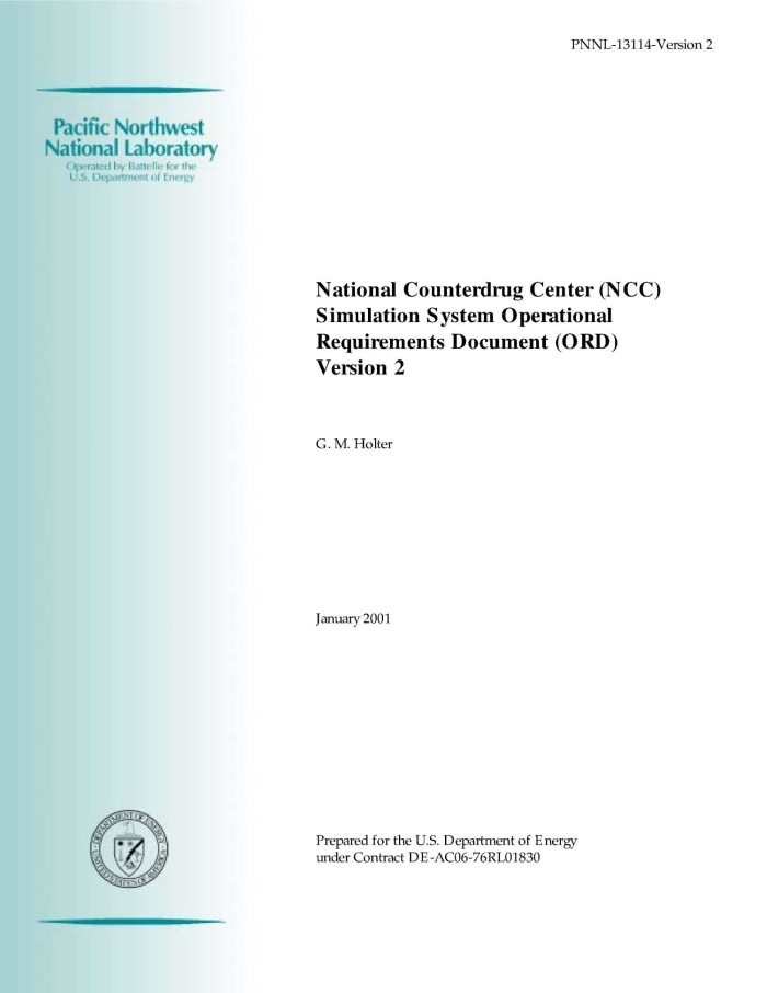 National Counterdrug Center NCC Simulation System Operational Requirements Document ORD Version 2