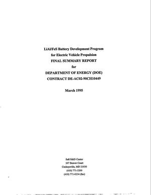 Primary view of object titled 'Lial/Fes Battery Development Program for Electric Vehicle Propulsion'.