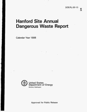 Primary view of object titled 'Hanford Site annual dangerous waste report - calendar year 1998'.