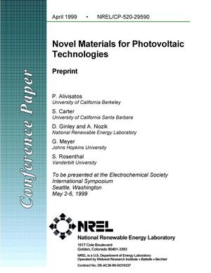 Primary view of object titled 'Novel Materials for Photovoltaic Technologies: Preprint'.