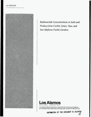 Primary view of object titled 'Radionuclide concentrations in soils and produce from Cochiti, Jemez, Taos, and San Ildefonso Pueblo Gardens'.