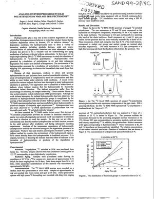 Primary view of object titled 'Analysis of Hydroperoxides in solid Polyethylene by NMR and EPR Spectroscopy'.