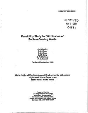 Primary view of object titled 'Feasibility Study for Vitrification of Sodium-Bearing Waste'.
