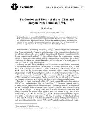 Primary view of object titled 'Production and decay of the Lambda c charmed baryon from Fermilab E791'.