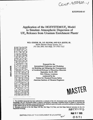 Primary view of object titled 'Application of the HGSYSTEM/UF{sub 6} model to simulate atmospheric dispersion of UF{sub 6} releases from uranium enrichment plants'.