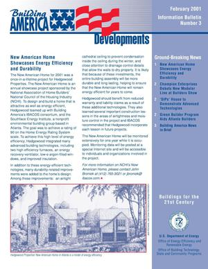 Primary view of object titled 'Building America Developments Informational Bulletin (No. 3, February 2001)'.