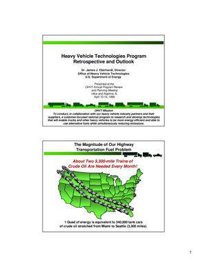 Primary view of object titled 'Heavy Vehicle Technologies Program Retrospective and Outlook'.