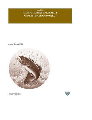 Primary view of object titled 'Pacific Lamprey Research and Restoration Project : Annual Report 1998.'.