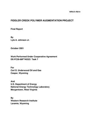 Primary view of object titled 'FIDDLER CREEK POLYMER AUGMENTATION PROJECT'.