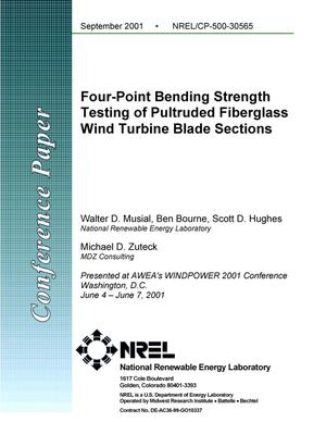 Primary view of object titled 'Four-Point Bending Strength Testing of Pultruded Fiberglass Composite Wind Turbine Blade Sections'.