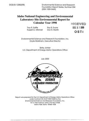 Primary view of object titled 'Idaho National Engineering and Environmental Laboratory Site Environmental Report for Calendar Year 1998'.