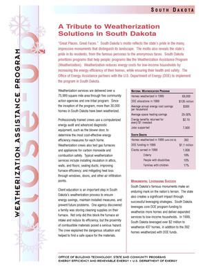 Primary view of object titled 'A Tribute to Weatherization Solutions in South Dakota: Weatherization Assistance Close-Up Fact Sheet'.