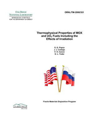Primary view of object titled 'Thermophysical Properties of MOX and UO2 Fuels Including the Effects of Irradiation'.