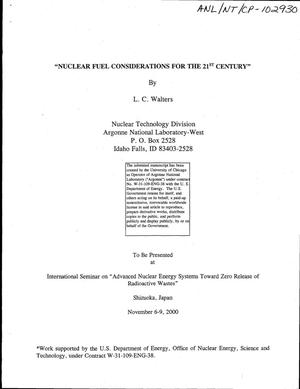 Primary view of object titled 'Nuclear fuel considerations for the 21st century.'.