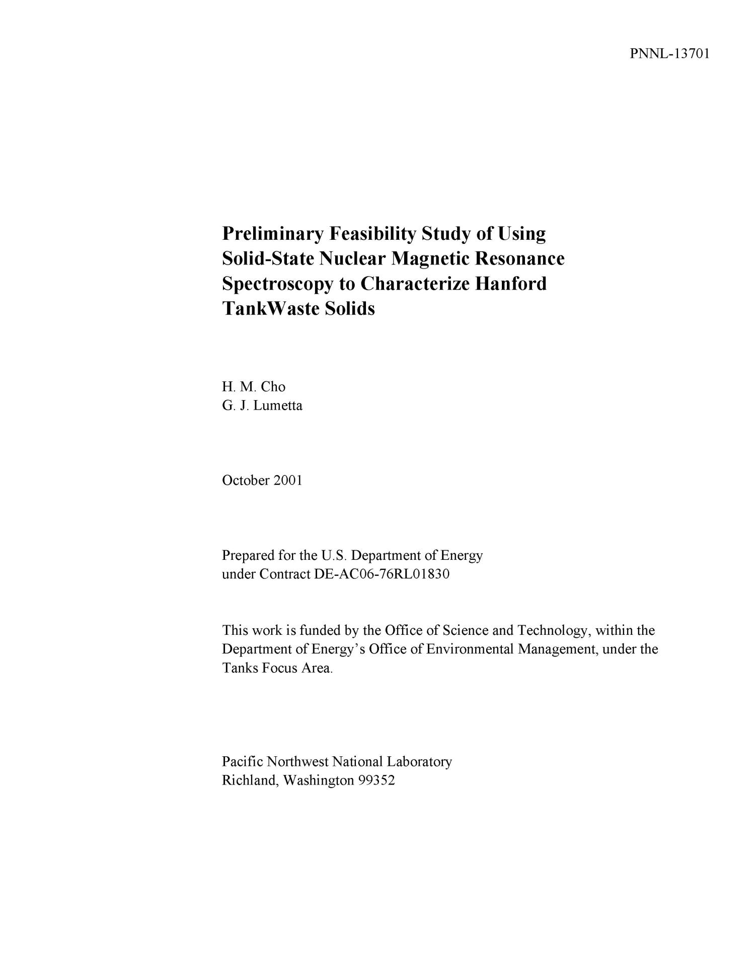 Preliminary Feasibility Study of Using Solid-State Nuclear Magnetic Resonance Spectroscopy to Characterize Hanford Tank Waste Solids                                                                                                      [Sequence #]: 3 of 28