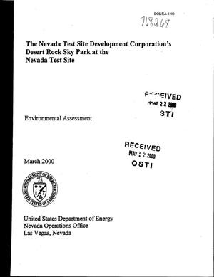Primary view of object titled 'Environmental Assessment and Finding of No Significant Impact: The Nevada Test Site Development Corporations's Desert Rock Sky Park at the Nevada Test Site'.