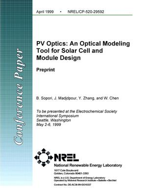 Primary view of object titled 'PV Optics: An Optical Modeling Tool for Solar Cell and Module Design; Preprint'.