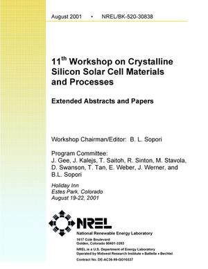 Primary view of object titled '11th Workshop on Crystalline Silicon Solar Cell Materials and Processes, Extended Abstracts and Papers, 19-22 August 2001, Estes Park, Colorado'.