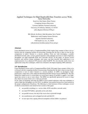 Primary view of object titled 'Applied techniques for high bandwidth data transfers across wide area networks'.