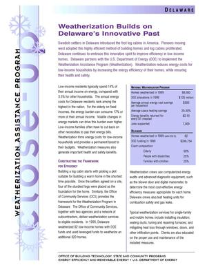 Primary view of object titled 'Weatherization Builds on Delaware's Innovative Past: Weatherization Assistance Close-Up Fact Sheet'.