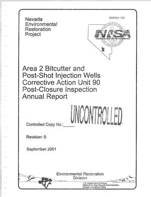 Primary view of object titled 'Area 2 Bitcutter and Post-Shot Injection Wells Corrective Action Unit 90 Post-Closure Inspection Annual Report'.
