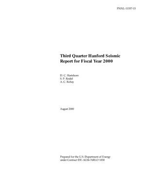 Primary view of object titled 'Third Quarter Hanford Seismic Report for Fiscal Year 2000'.