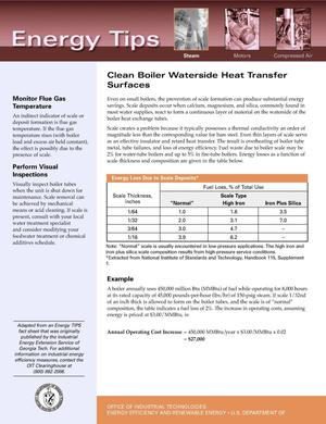 Primary view of object titled 'Clean Boiler Waterside Heat Transfer Surfaces: Office of Industrial Technologies (OIT) Steam Energy Tips Fact Sheet'.