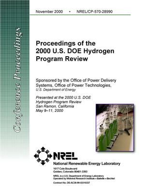 Primary view of object titled 'Proceedings of the 2000 U.S. DOE Hydrogen Program Review'.