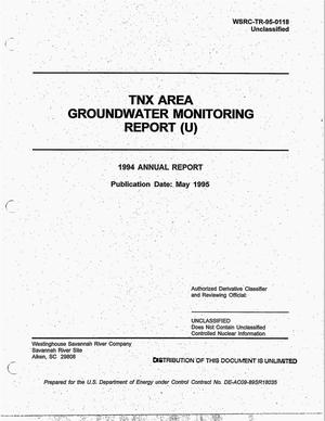 Primary view of object titled 'TNX Area 1994 Annual Groundwater Monitoring Report'.