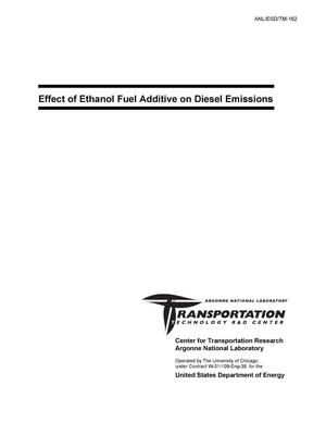 Primary view of object titled 'Effect of ethanol fuel additive on diesel emissions.'.