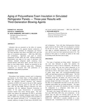 Primary view of object titled 'Aging of Polyurethane Foam Insulation in Simulated Refrigerator Panels--Three-Year Results with Third-Generation Blowing Agents'.