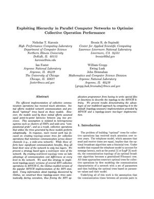 Primary view of object titled 'Exploiting hierarchy in parallel computer networks to optimize collective operations performance'.