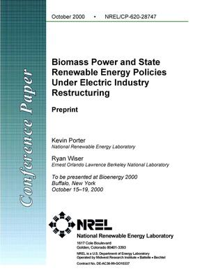 Primary view of object titled 'Biomass Power and State Renewable Energy Policies Under Electric Industry Restructuring'.