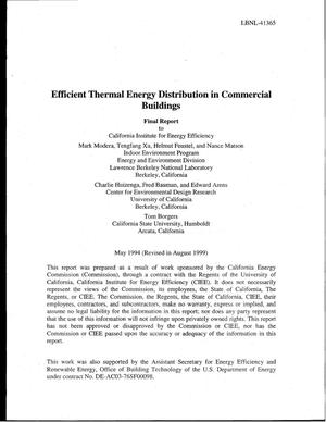 Primary view of object titled 'Efficient thermal energy distribution in commercial buildings - Final Report'.