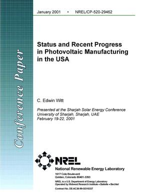 Primary view of object titled 'Status and Recent Progress in Photovoltaic Manufacturing in the USA'.