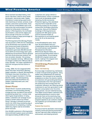 Primary view of object titled 'Wind Powering America: Pennsylvania (Clean Energy for the 21st Century Fact Sheet)'.