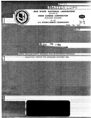 Primary view of object titled 'ORNL Nuclear Safety Research and Development Program Bimonthly Report for September-October 1968'.