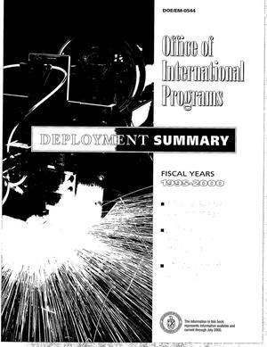 Primary view of object titled 'Deployment summary: Fiscal years 1995-2000 [USDOE Office of International Programs]'.