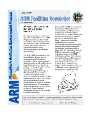 Primary view of object titled 'Atmospheric Radiation Measurement Program facilities newsletter, July 2000.'.