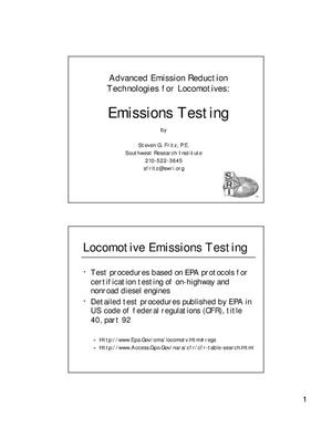 Primary view of object titled 'Advanced Emission Reduction Technologies for Locomotives: Emission Testing'.