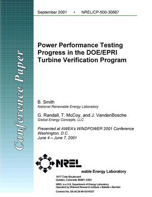 Primary view of object titled 'Power Performance Testing Progress in the DOE/EPRI Turbine Verification Program'.