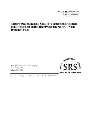 Primary view of object titled 'Hanford Waste Simulants Created to Support the Research and Development on the River Protection Project - Waste Treatment Plant'.