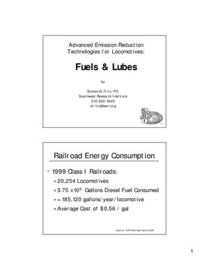 Primary view of object titled 'Advanced Emission Reduction Technologies for Locomotives: Fuels and Lubes'.