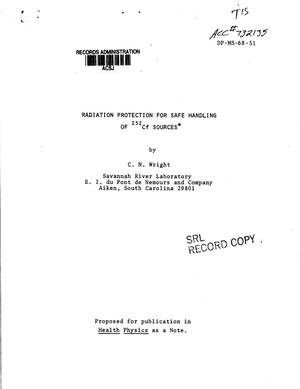 Primary view of object titled 'Radiation Protection for Safe Handling of Californium 252 Sources'.