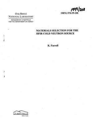 Primary view of object titled 'Materials Selection for the HFIR Cold Neutron Source'.