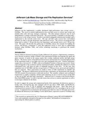 Primary view of object titled 'Jefferson Lab Mass Storage and File Replication Services'.