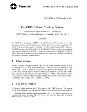 Primary view of object titled 'The CDF-II silicon tracking system'.