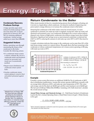 Primary view of object titled 'Return Condensate to the Boiler: Office of Industrial Technologies (OIT) Steam Energy Tips Fact Sheet'.