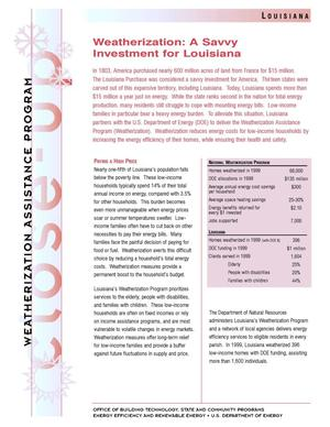 Primary view of object titled 'Weatherization: A Savvy Investment for Louisiana: Weatherization Assistance Close-Up Fact Sheet'.